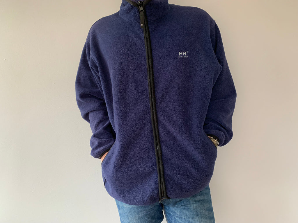 Helly Hansen Full Zipper Fleece - Navy - XL - Vintage Society