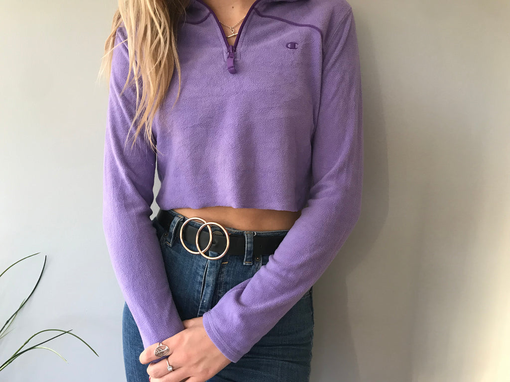 Champion 1/4 Zip Fleece Cropped - Purple