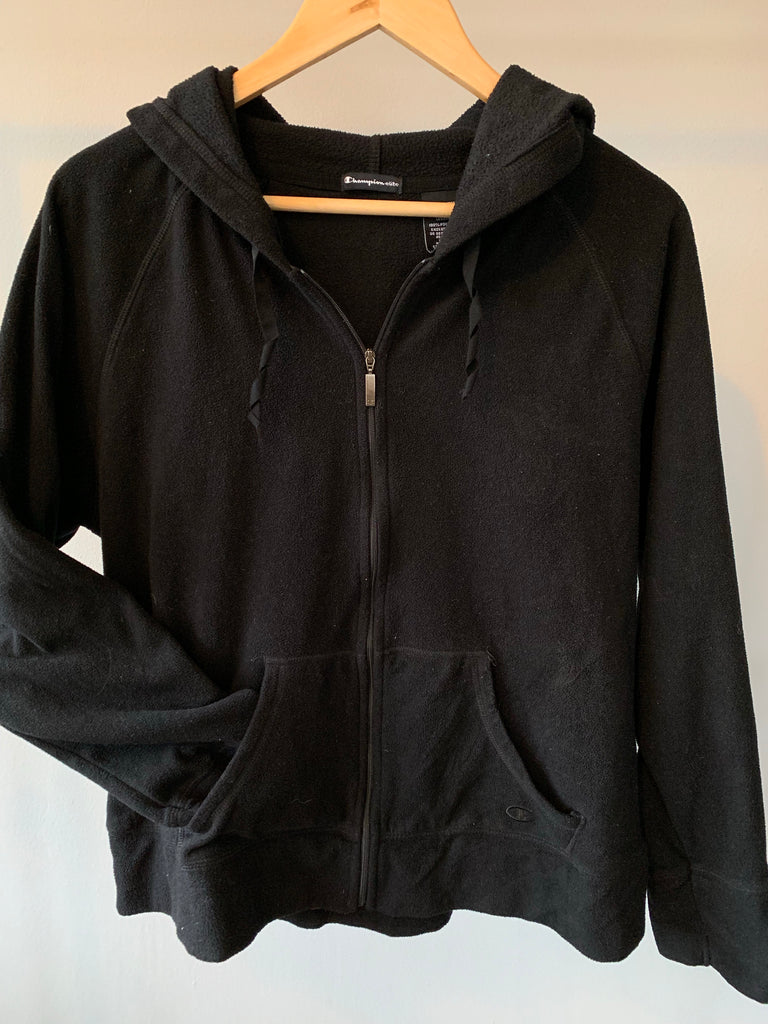 Champion Full Zipper Fleece Blackout - Black - Small