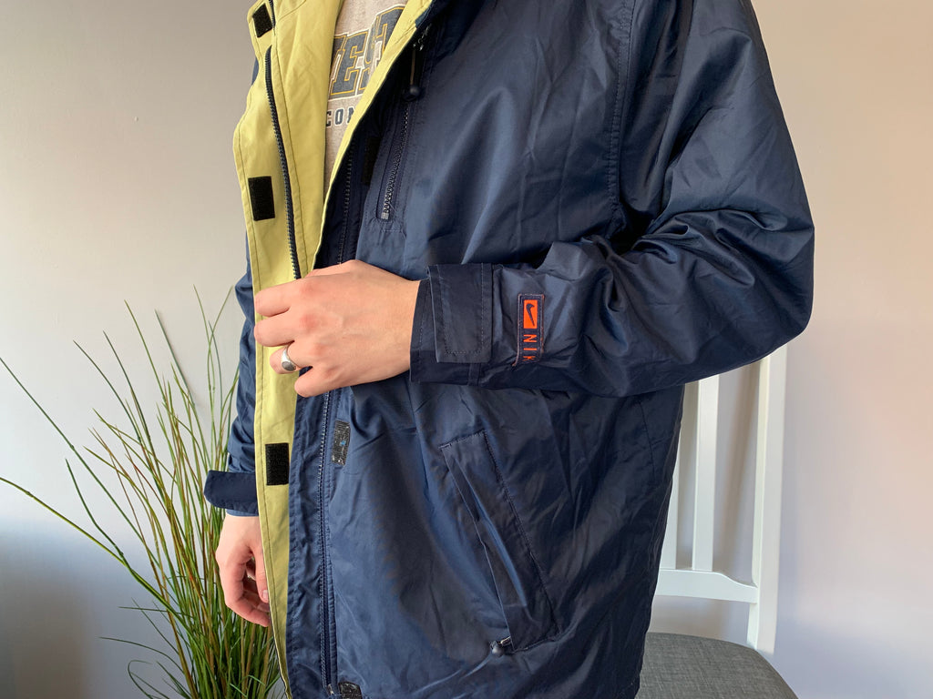 Vintage Nike Quilted Coat - Blue - XL