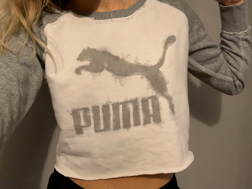 Puma Long Sleeve Low Cropped T-Shirt - White/ Grey - Vintage Society