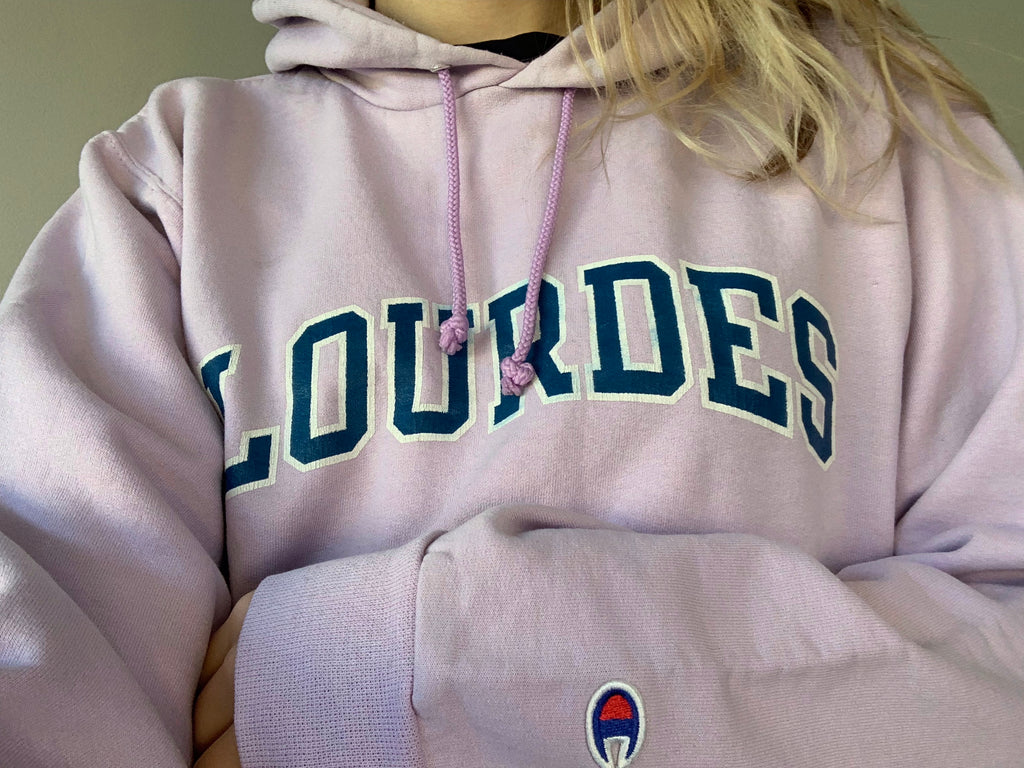 Lourdes Champion Hoodie - Lilac - Small - Vintage Society