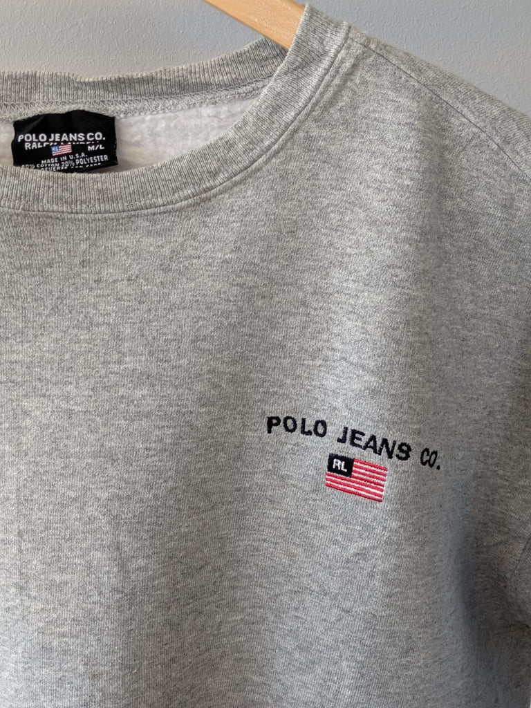 Ralph Lauren 'Polo Jeans Co.' Sweatshirt - Grey - Medium - Vintage Society