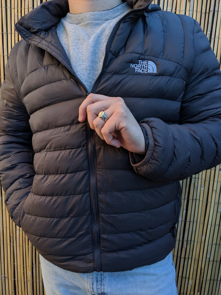 The North Face Puffer Coat - Dark Grey - Large - Vintage Society