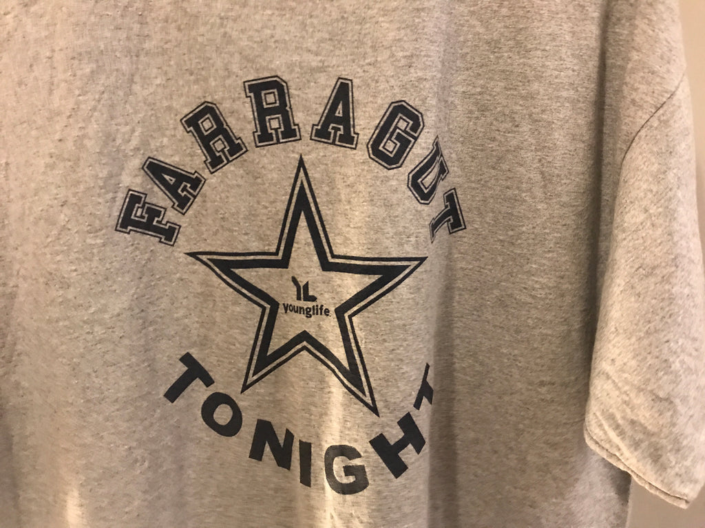 Farragut Younglife Tonight American Printed T-Shirt - Grey - XL - Vintage Society