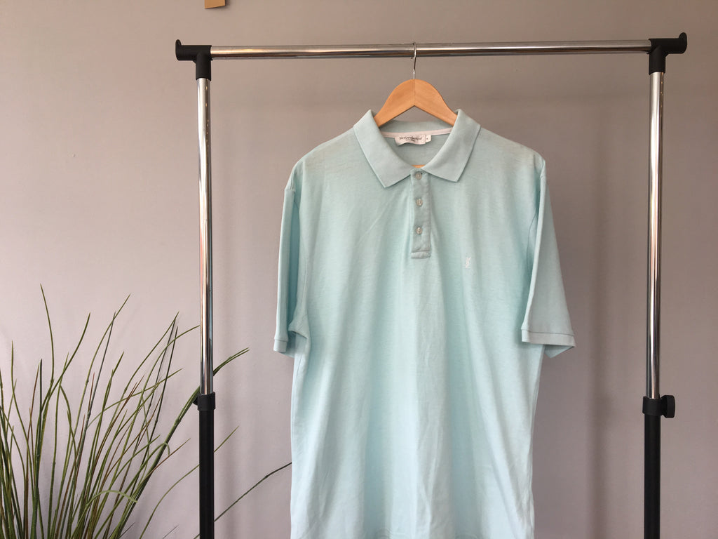 Vintage YSL Polo Shirt - Pale Blue - XL