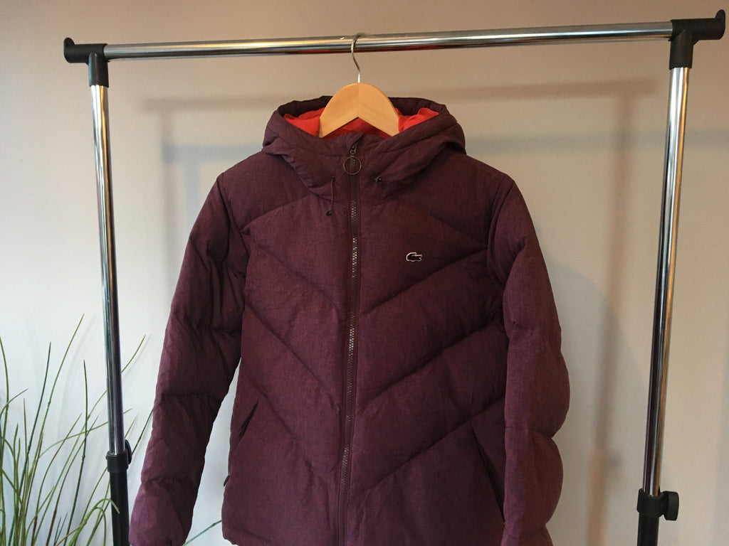 Lacoste Puffer Coat - Burgundy - Small
