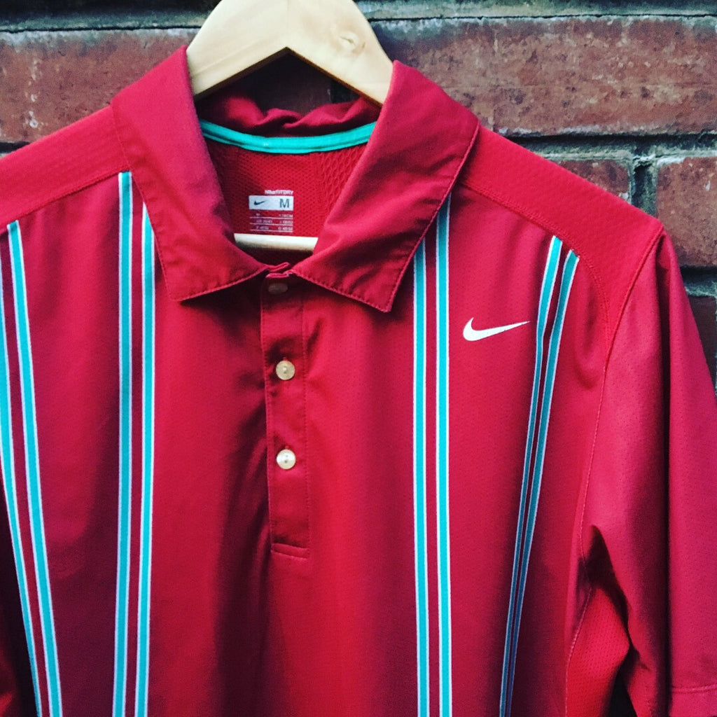 Nike Striped Dry Fit Polo - Red - Medium - Vintage Society