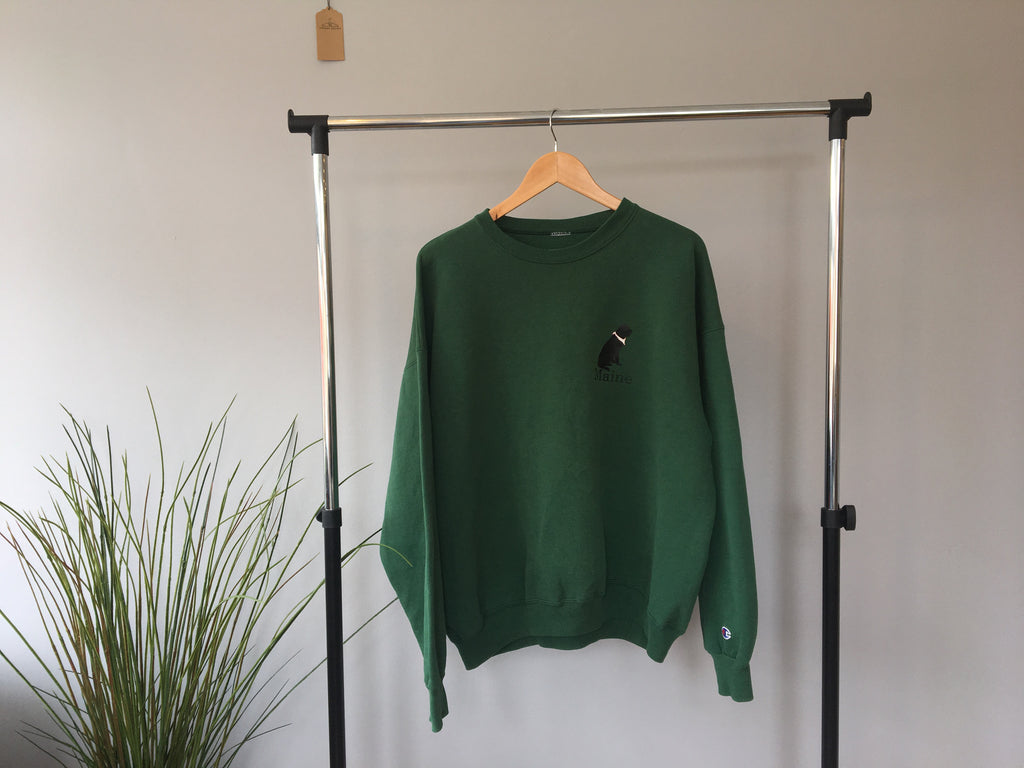 Champion Maine Crewneck Sweatshirt - Green - Large
