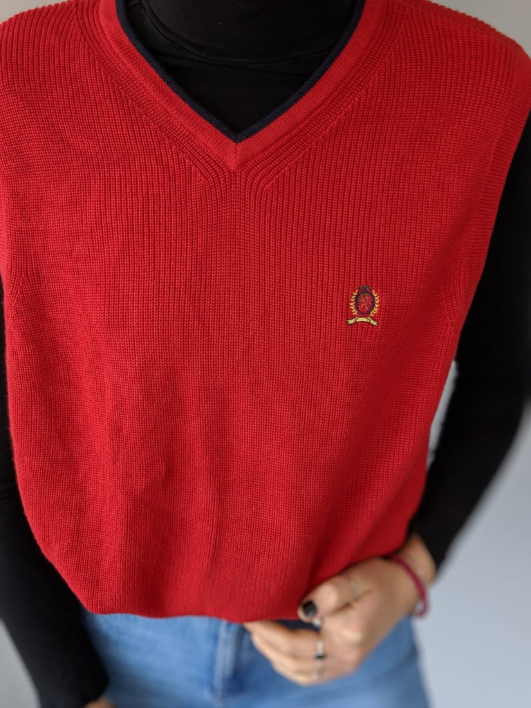 Tommy Hilfiger Knitted Vest - Red - Medium - Vintage Society