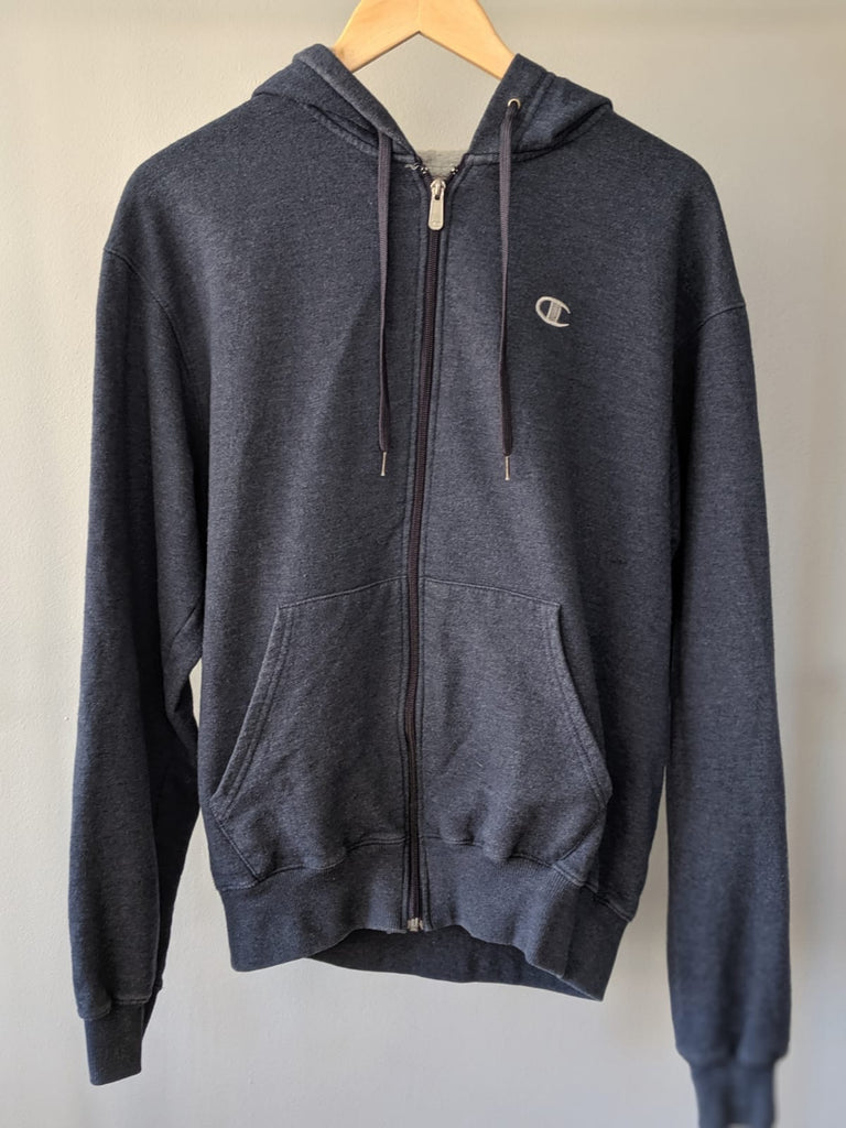 Champion Zipped Hoodie - Navy Blue - Medium
