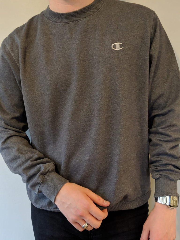Champion Grey Crew Neck Sweatershirt - Small - Vintage Society
