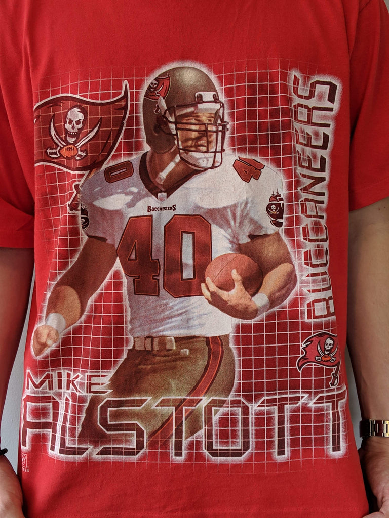 Mike Alstott Buccaneers Printed T-Shirt - Red - XL - Vintage Society