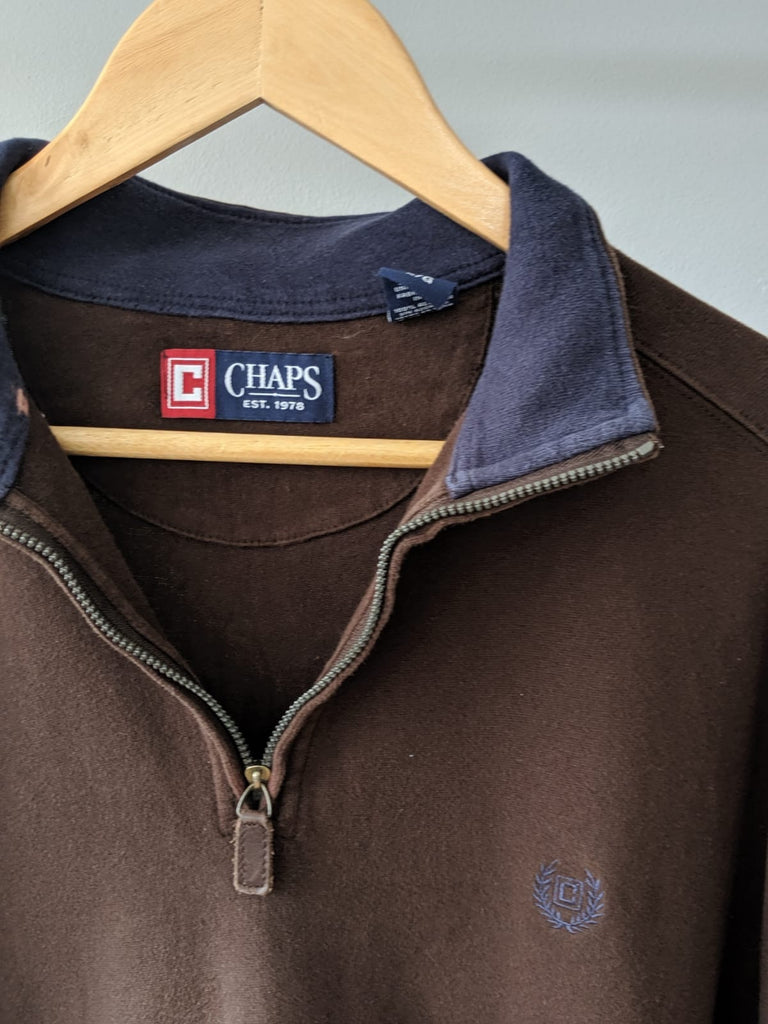 Ralph Lauren / Chap 1/4 Zip Sweatshirt - Brown - Large
