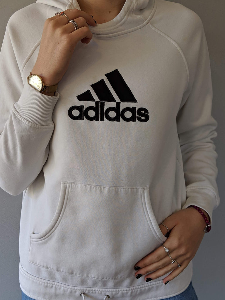 Adidas Hoodie - White - Small - Vintage Society
