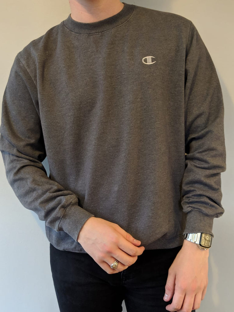 Champion Grey Crew Neck Sweatershirt - Small