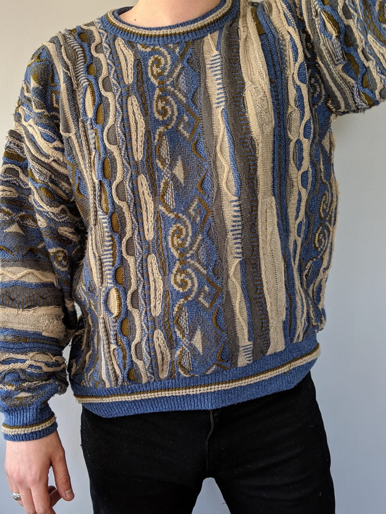 90s Cosby Knitwear - Mixed Pattern Coogi Style - Large - Vintage Society