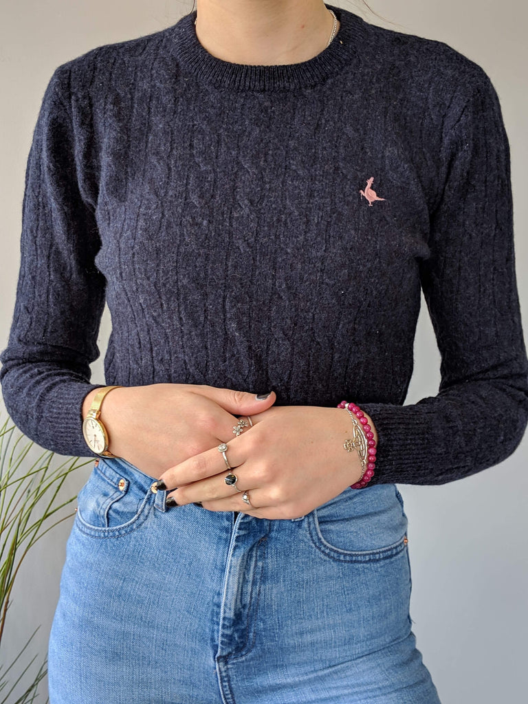 Jack Wills Knitted Sweatshirt - Navy - Small - Vintage Society