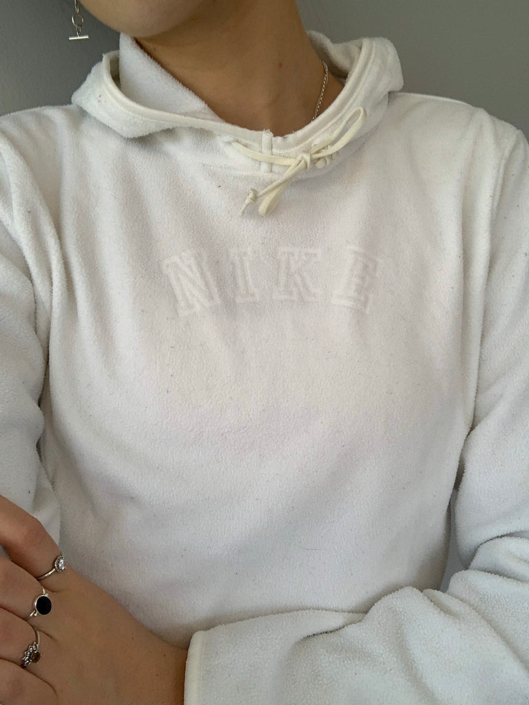 Nike Fleece Hoodie Cropped - White - Vintage Society