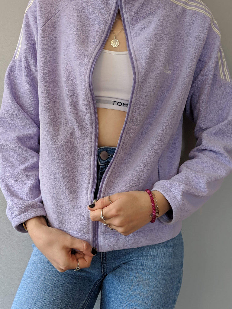 Adidas Full Zipper Fleece - Lilac - Small - Vintage Society