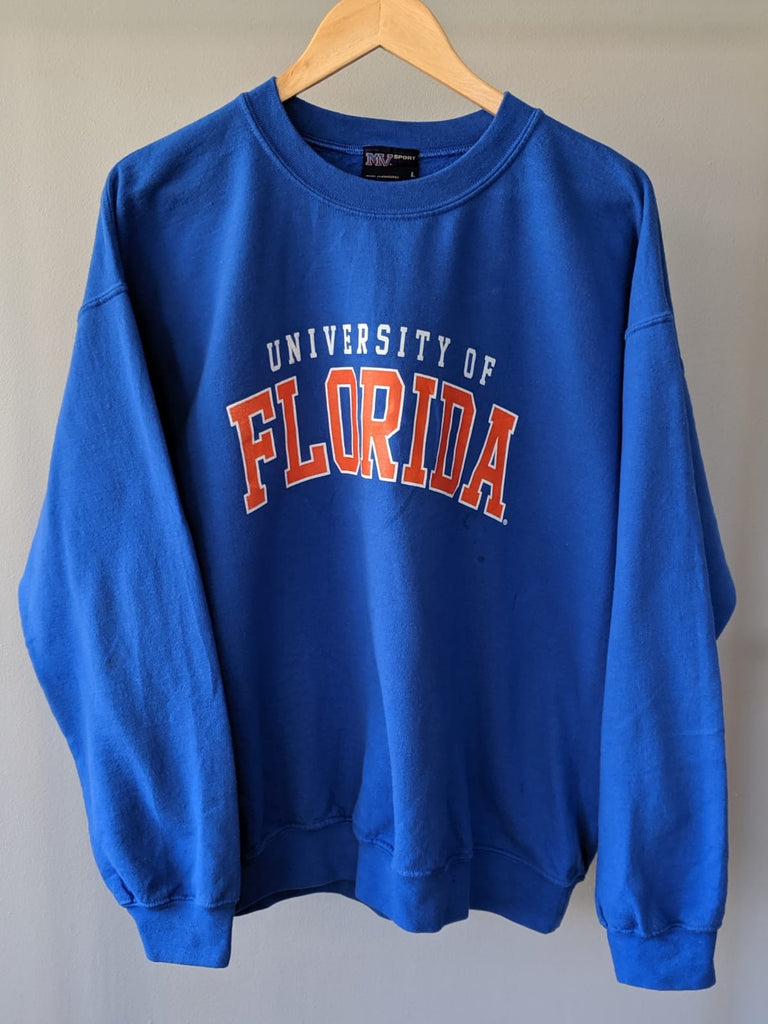 University of Florida Printed Sweatshirt - Blue - Large - Vintage Society
