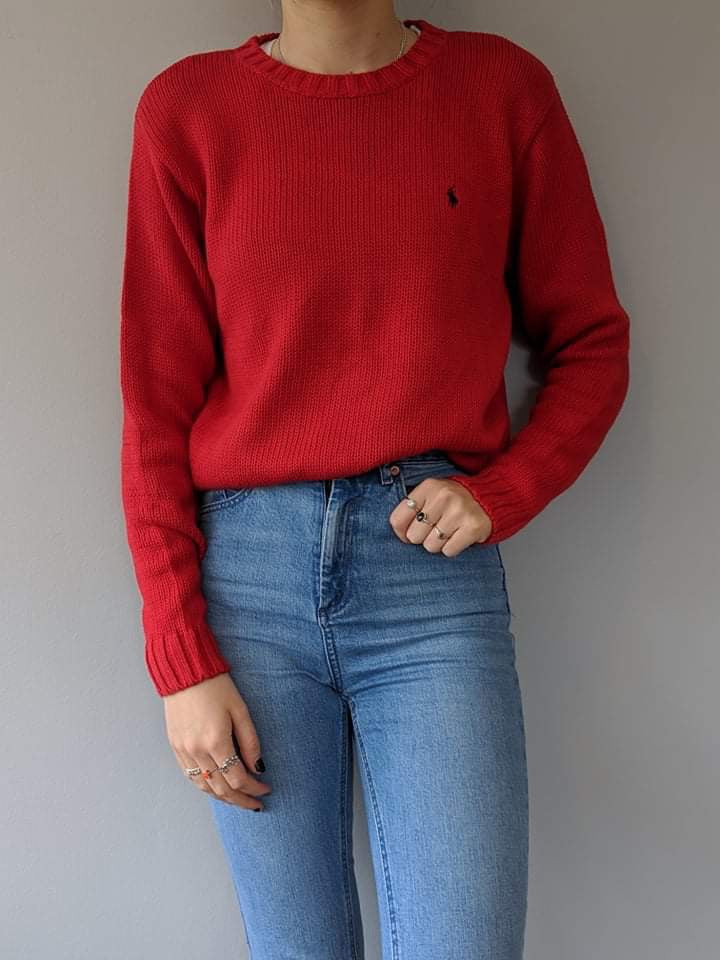 Ralph Lauren Knitted Sweatshirt - Red - Large - Vintage Society