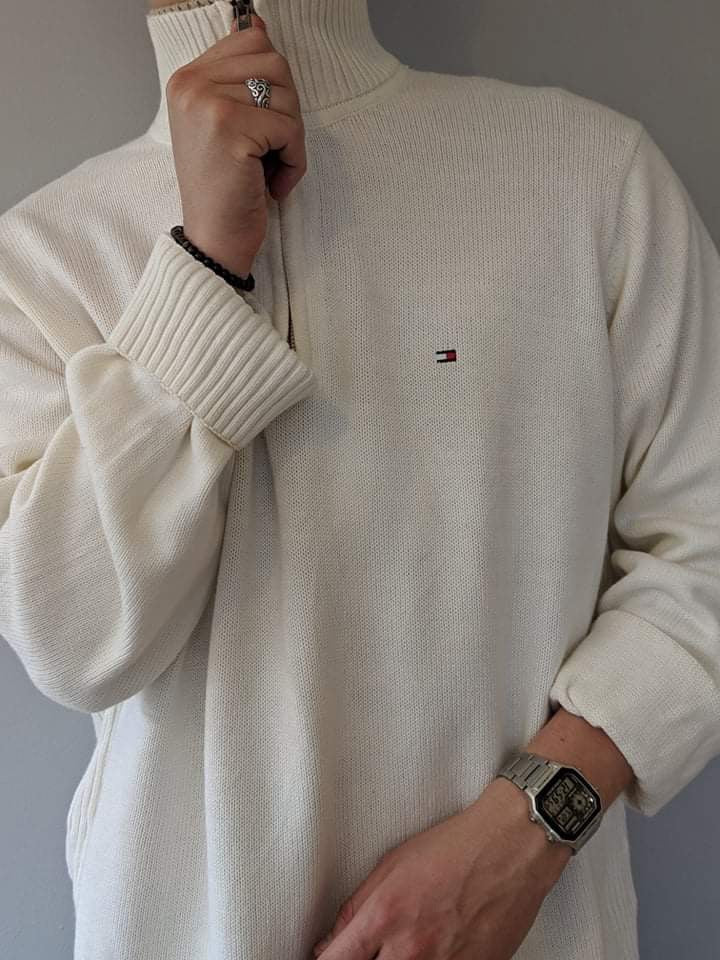 Tommy Hilfiger 1/4 Zip Knitwear Pullover - White - XL - Vintage Society
