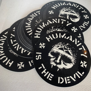 "Integrity ""humanity is the devil"" sticker"