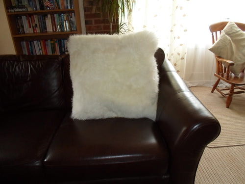 White Sheepskin Cushion 50x50 cm Single Sided - Barnscroft.com