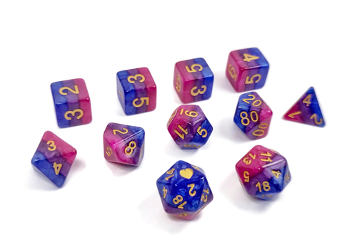 Bisexual Pride - HeartBeatDice -  RPG Dice Set, CritKit