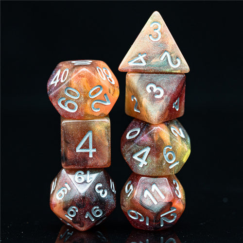 Galaxy Yellow & Red -  RPG Dice Set, CritKit