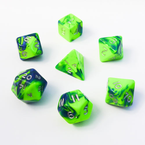 Toxic Flame (Lime) -  RPG Dice Set, CritKit