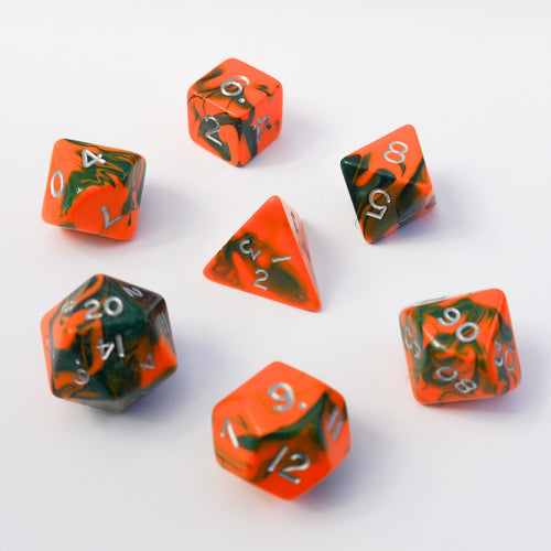 Toxic Flame (Orange) -  RPG Dice Set, CritKit