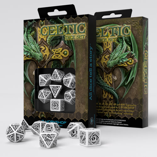 Celtic 3D Revised White & Black - Q-Workshop -  RPG Dice Set, CritKit