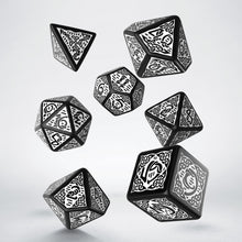Load image into Gallery viewer, Celtic 3D Revised Black & White  - Q-Workshop -  RPG Dice Set, CritKit