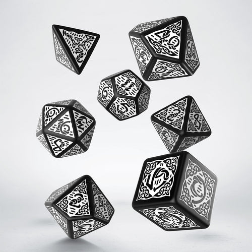 Celtic 3D Revised Black & White  - Q-Workshop -  RPG Dice Set, CritKit