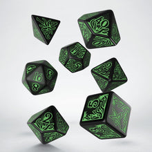 Load image into Gallery viewer, Call of Cthulhu 7th Edition Black & Green - Q-Workshop -  RPG Dice Set, CritKit