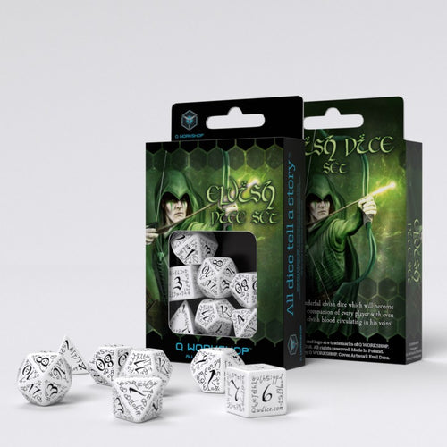 Elvish White & Black - Q-Workshop -  RPG Dice Set, CritKit