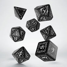 Load image into Gallery viewer, Elvish Black & White  - Q-Workshop -  RPG Dice Set, CritKit