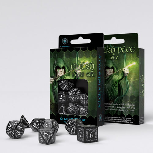 Elvish Black & White  - Q-Workshop -  RPG Dice Set, CritKit