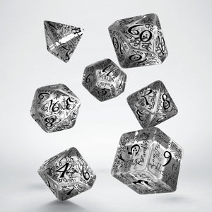 Elvish Translucent & Black - Q-Workshop -  RPG Dice Set, CritKit