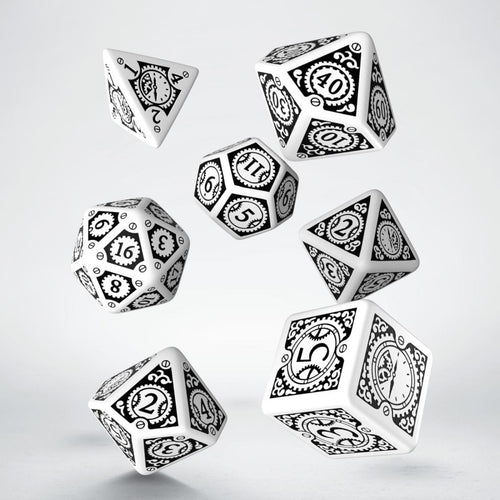 Steampunk Clockwork White & Black - Q-Workshop -  RPG Dice Set, CritKit