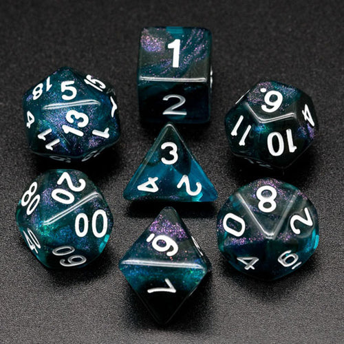 Primordial - Blue & Black -  RPG Dice Set, CritKit
