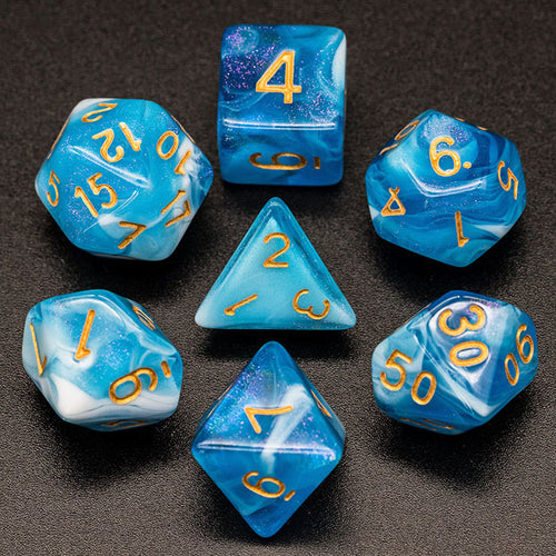 Primordial - Blue & White -  RPG Dice Set, CritKit