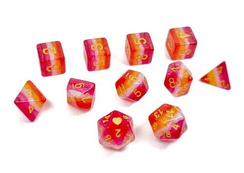 Community Lesbian Pride - HeartBeatDice -  RPG Dice Set, CritKit