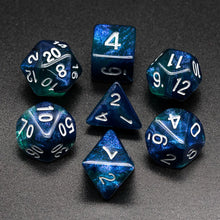 Load image into Gallery viewer, Primordial - Dark Blue & Green -  RPG Dice Set, CritKit