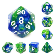 Load image into Gallery viewer, Pale Blue Dot -  RPG Dice Set, CritKit