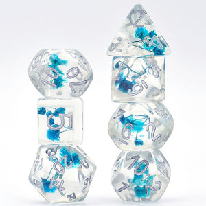 Flowers Blue -  RPG Dice Set, CritKit