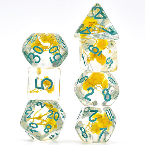 Flowers - Yellow -  RPG Dice Set, CritKit