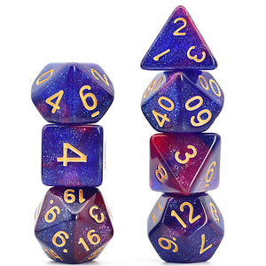 Galaxy - Purple / Blue -  RPG Dice Set, CritKit